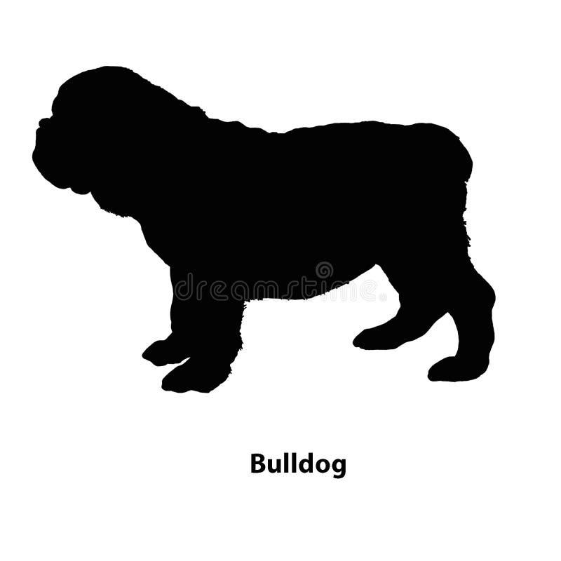 O cão do buldogue produz as silhuetas do vetor ajustadas ilustração royalty free
