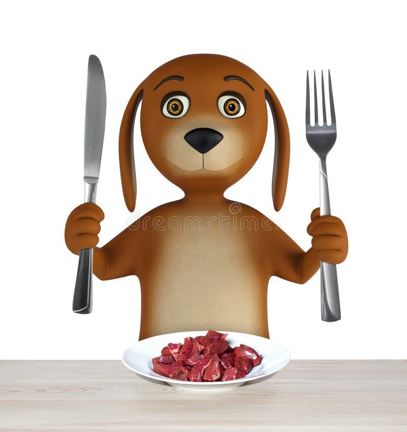 O cão dos desenhos animados com a bacia de carne guarda uma faca e uma forquilha Isolado no fundo branco 3d rendem ilustração royalty free