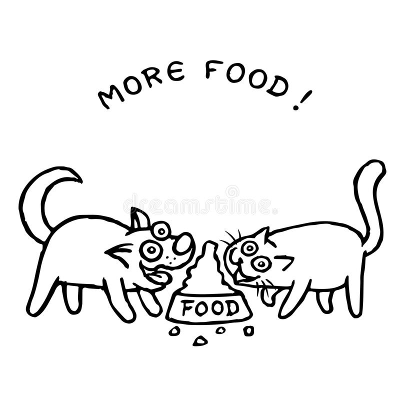 O cão e gato come junto com uma bacia Ilustração ilustração royalty free