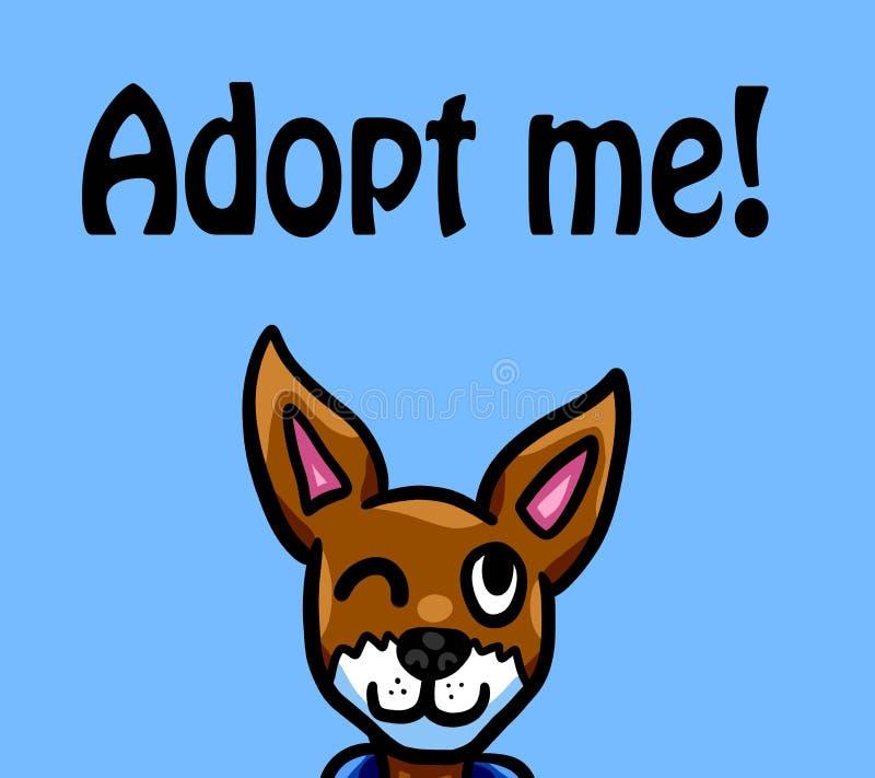 O cão pequeno engraçado quer ser adotado ilustração stock