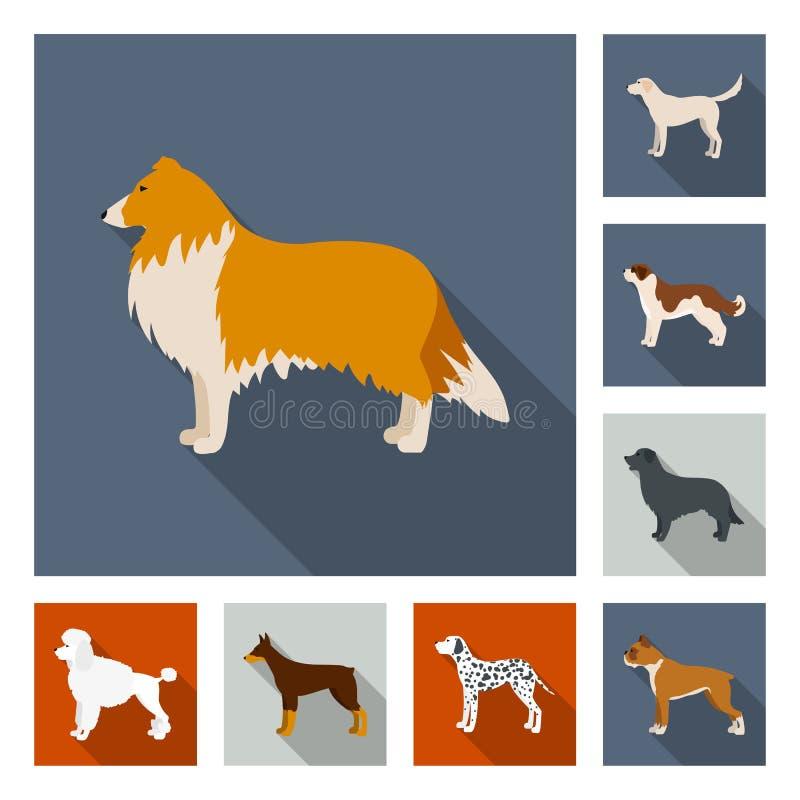 O cão produz ícones lisos na coleção do grupo para o projeto Ilustração da Web do estoque do símbolo do vetor do animal de estima ilustração stock