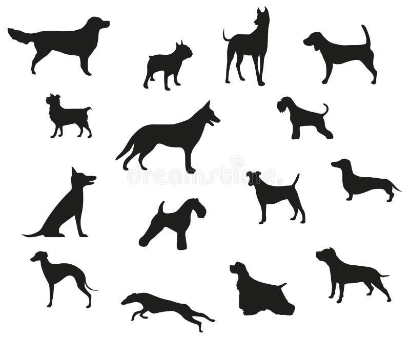 O cão produz silhuetas pretas ilustração do vetor