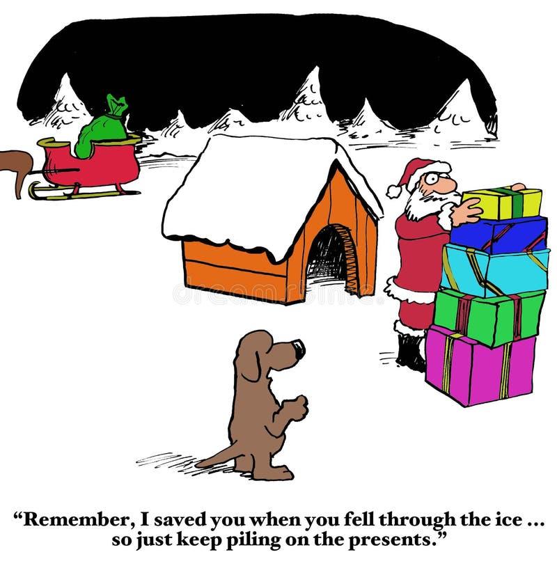 O cão salvar Santa ilustração stock