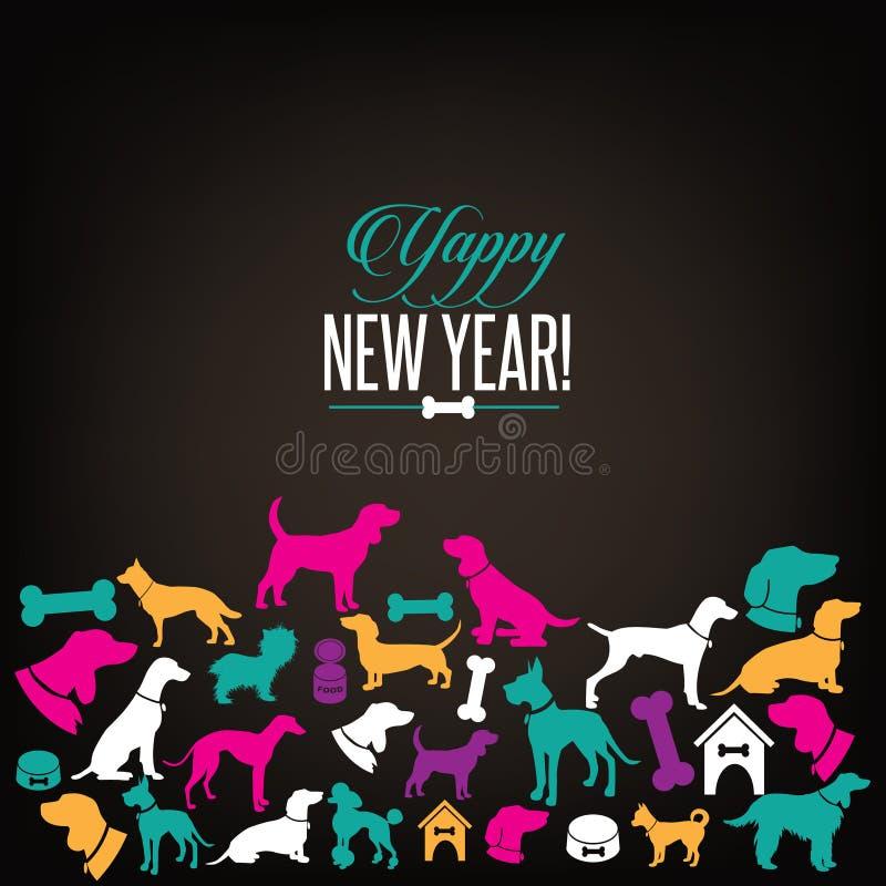 O cão Yappy do ano novo mostra em silhueta o projeto de cartão ilustração do vetor
