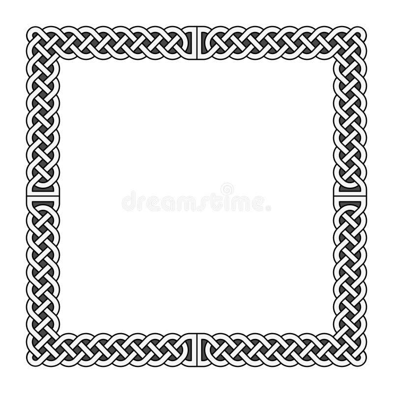 O céltico ata o quadro medieval do vetor em preto e branco ilustração royalty free