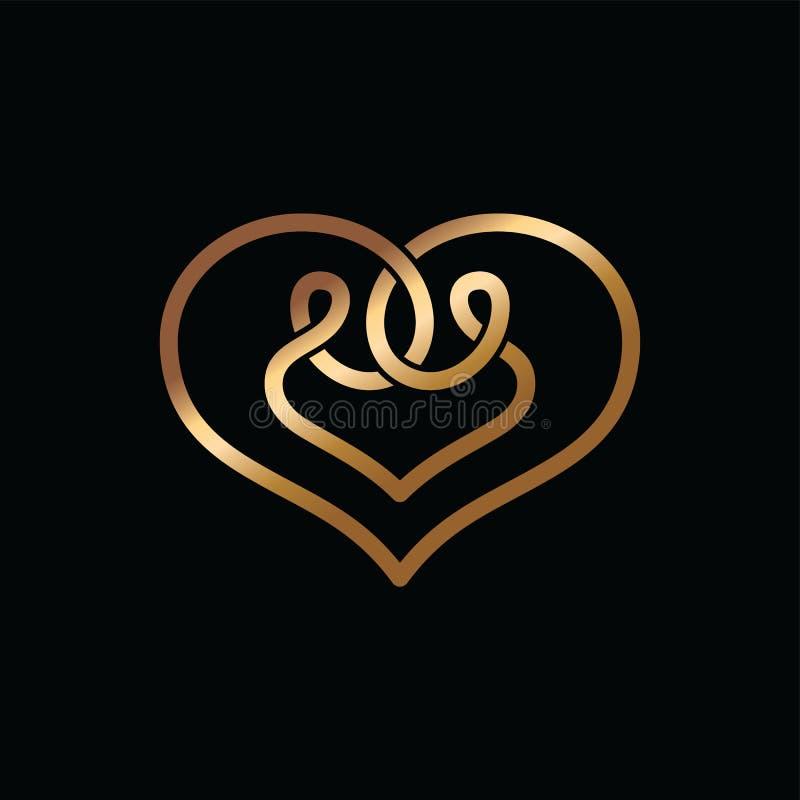 o céltico da forma do coração sobrepôs o logotipo do conceito ilustração royalty free