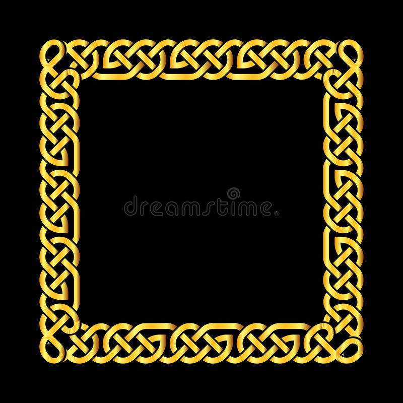 O céltico dourado quadrado ata o quadro do vetor ilustração stock