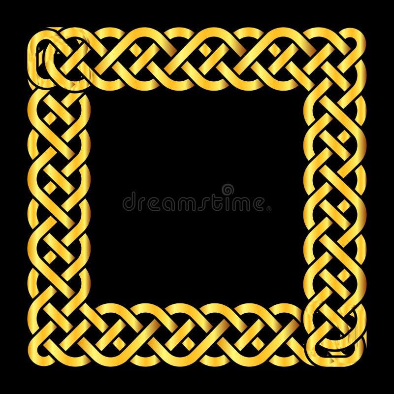 O céltico dourado quadrado ata o quadro do vetor ilustração do vetor