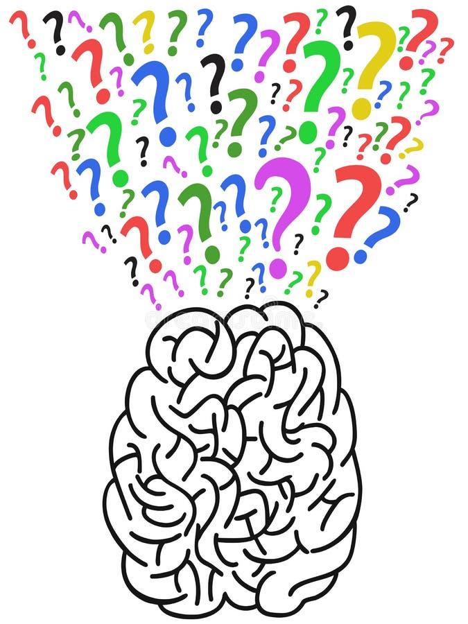O cérebro com ponto de interrogação ilustração royalty free