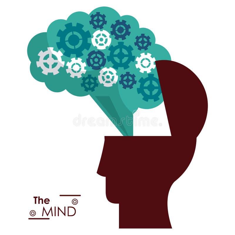 O cérebro da cabeça da silhueta da mente alinha o sucesso ilustração stock