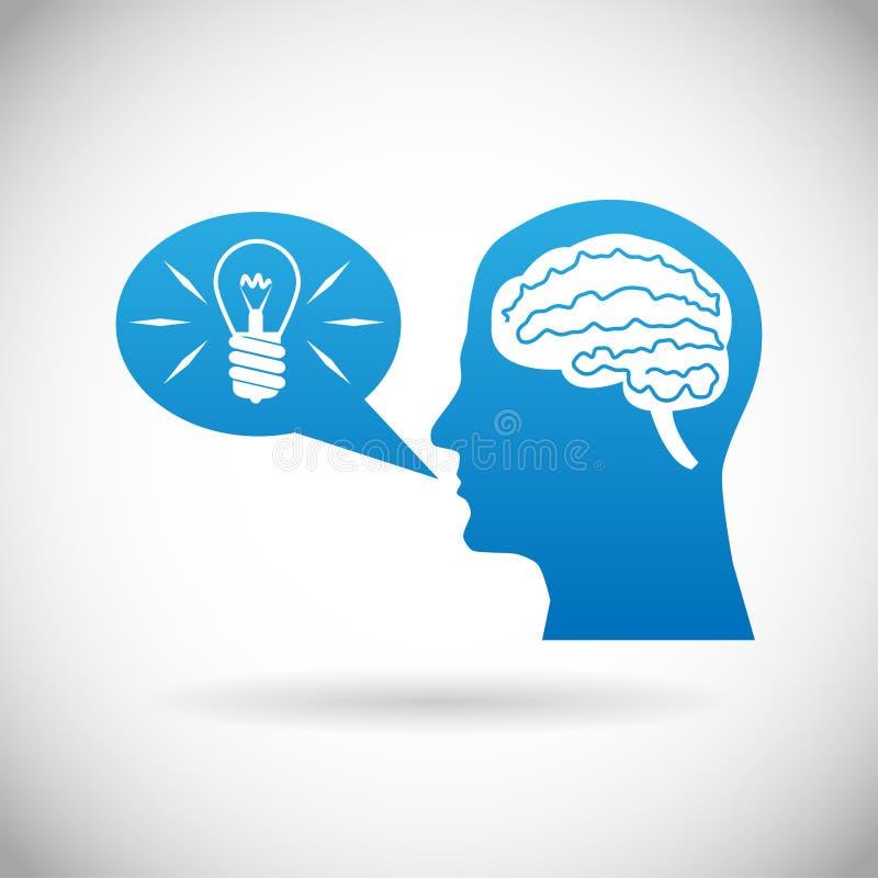 O cérebro de Headmind na silhueta principal gerencie a ilustração manifesta do vetor da bolha do discurso da ideia da lâmpada ilustração stock