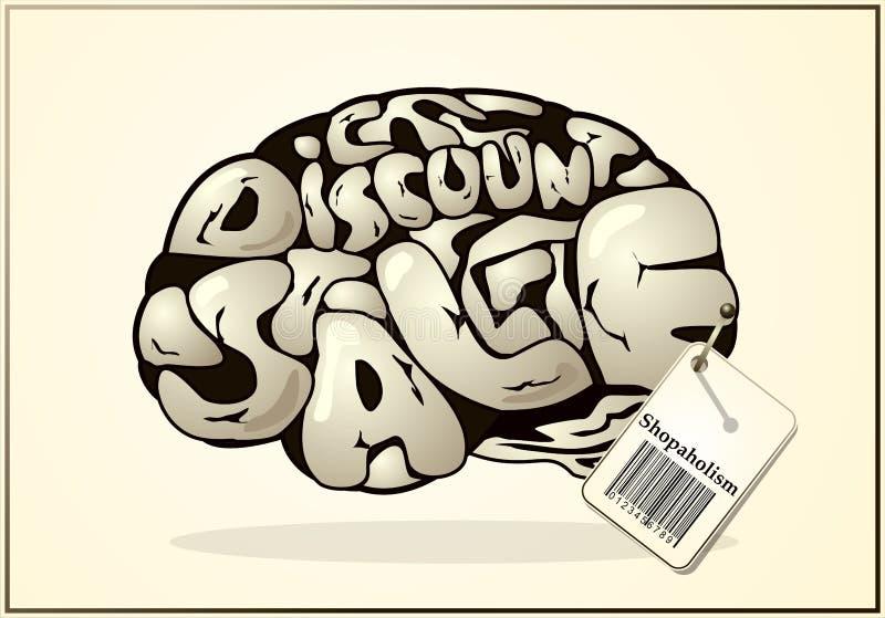 O cérebro de um Shopaholic ilustração do vetor