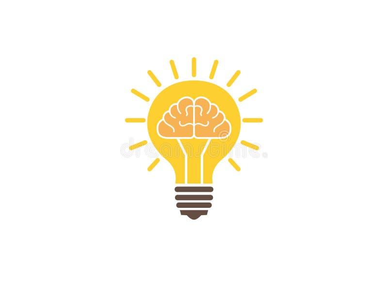 O cérebro dentro de uma ideia de brilho da luz da lâmpada para o logotipo ilustração royalty free
