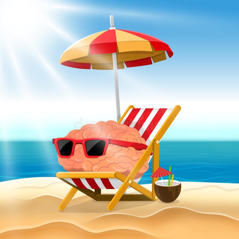 O cérebro do conceito dos desenhos animados da ilustração relaxa na praia Vetor IL ilustração do vetor
