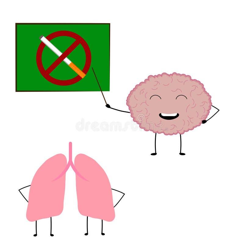 O cérebro ensina para não fumar mais aos pulmões foto de stock royalty free