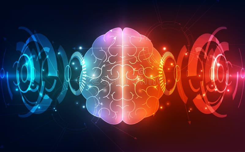O cérebro humano abstrato do vetor no fundo da tecnologia representa o conceito da inteligência artificial, ilustração ilustração stock