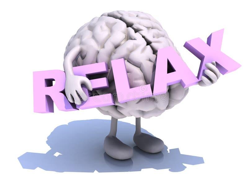 O cérebro humano que abraça a palavra relaxa ilustração royalty free