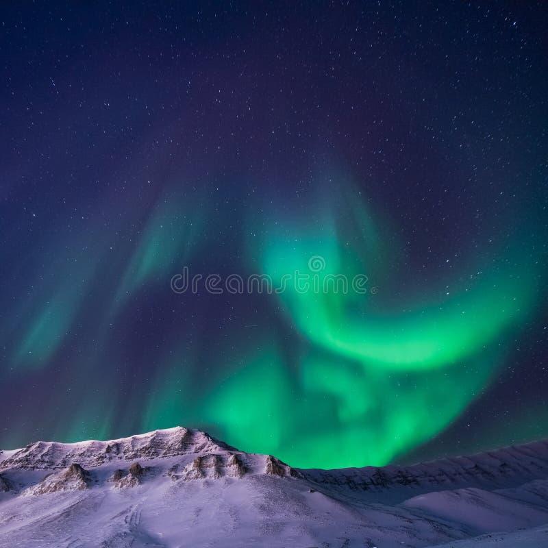 O céu ártico polar do aurora borealis da aurora boreal protagoniza em montanhas do snowscooter da cidade de Noruega Svalbard Long imagem de stock