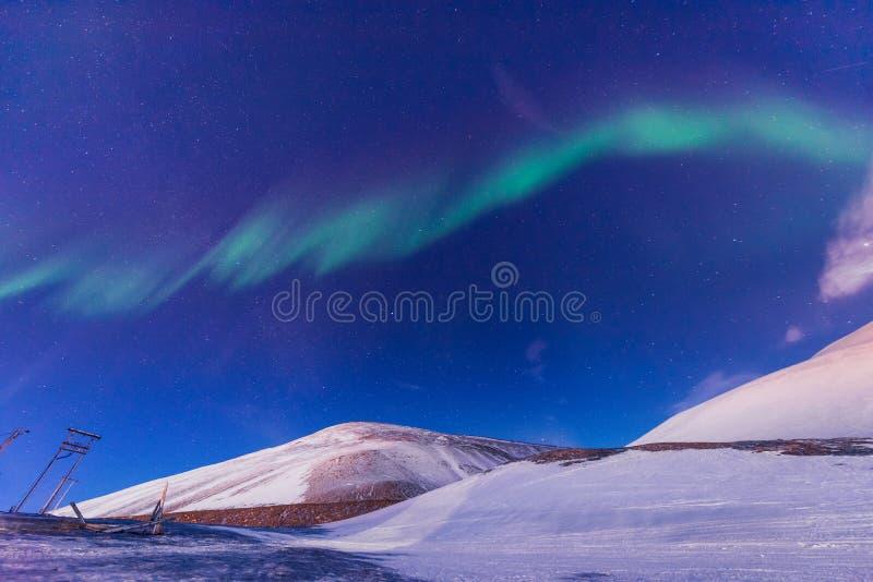 O céu ártico polar do aurora borealis da aurora boreal protagoniza em Noruega Svalbard em montanhas do curso da cidade de Longyea foto de stock