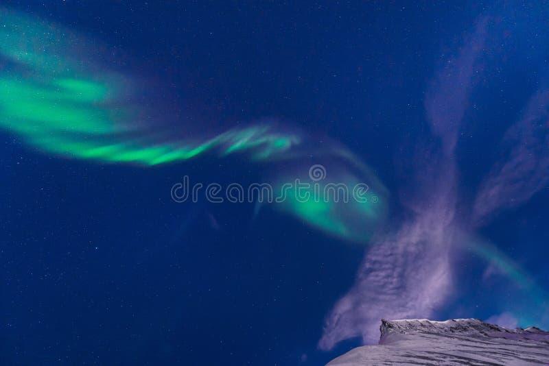 O céu ártico polar do aurora borealis da aurora boreal protagoniza em Noruega Svalbard em montanhas do curso da cidade de Longyea fotografia de stock