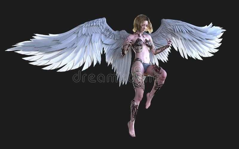 O céu Angel Wings, Wing Plumage branco com trajeto de grampeamento ilustração royalty free