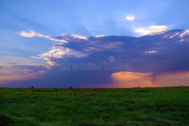 O céu azul com nuvens e sol irradia a queda na grama imagem de stock royalty free
