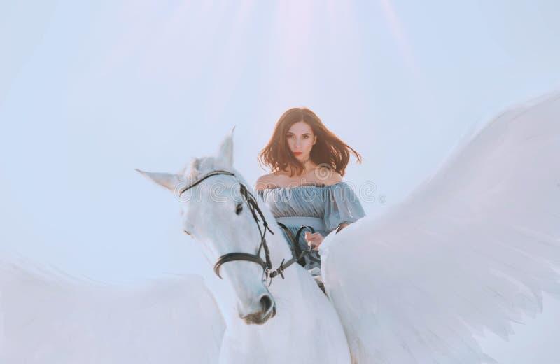 O céu brilhante e a luz solar, menina majestosa com o cavalo de equitação de voo escuro do cabelo, um anjo no vestido cinzento do fotografia de stock