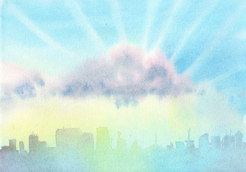 O céu com as nuvens sobre a cidade dia Divórcio azul abstrato do fundo da aquarela Ilustra??o da aguarela ilustração do vetor