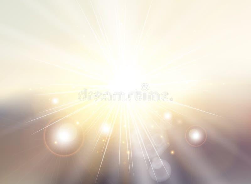 O céu com luz solar irradia o backgr borrado crepúsculo do sumário do inclinação ilustração stock