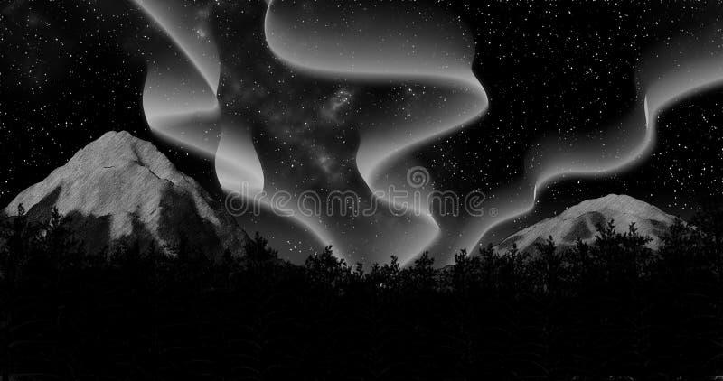 O céu da floresta do aurora borealis do inverno da noite e a ilustração do fundo 3d das montanhas rendem ilustração do vetor