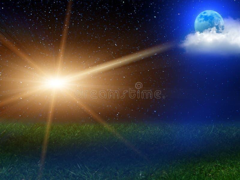 O céu da paisagem da noite stars a lua ilustração royalty free