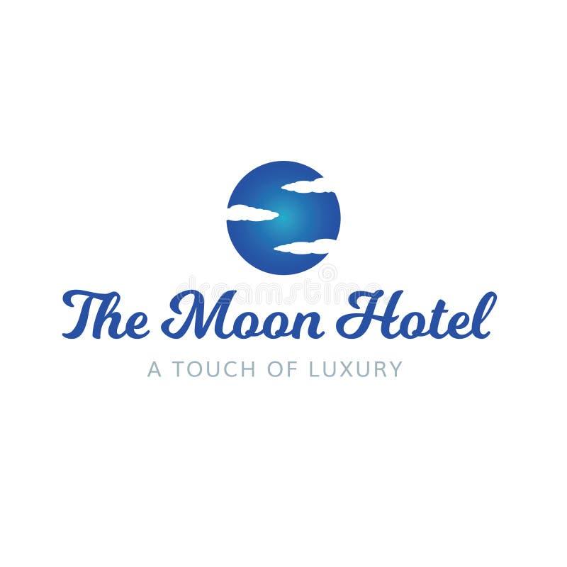 O céu do hotel da lua nubla-se o logotipo luxuoso dos termas imagens de stock royalty free