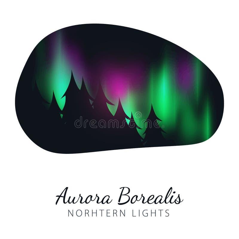 O céu noturno, Aurora Borealis, aurora boreal efetua no fundo escuro atrás das luzes polares coloridas realísticas da floresta ilustração stock
