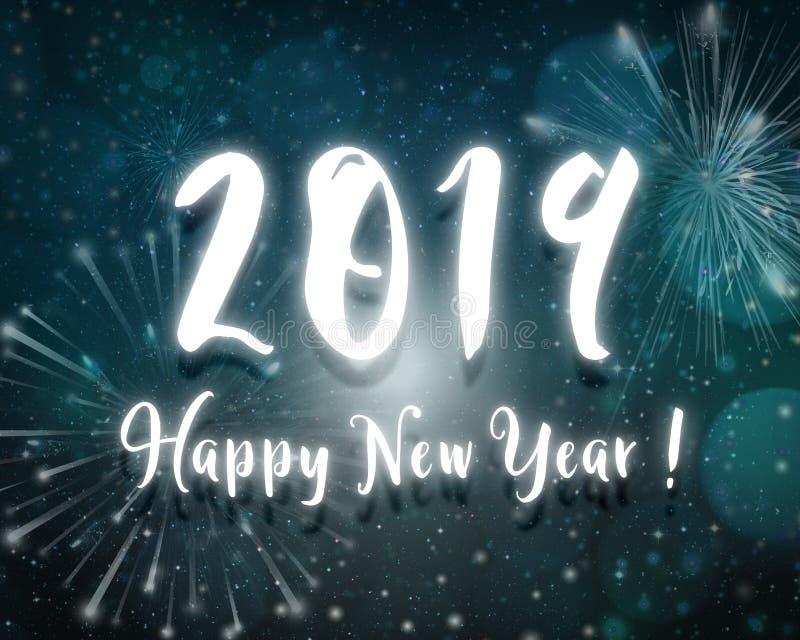 o céu noturno azul do texto da luz de néon de ano 2019 novo feliz stars o backgro fotografia de stock