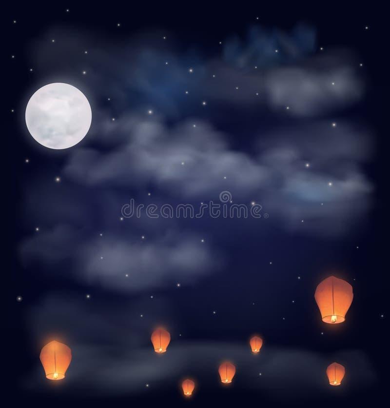 O céu noturno com a lua, as estrelas e os chineses desejam lanternas imagem de stock