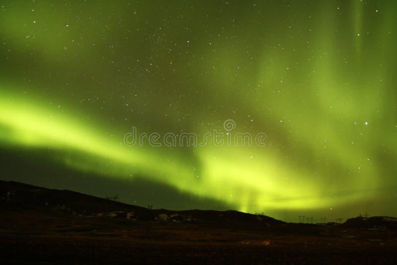 O céu noturno de Islândia fotos de stock