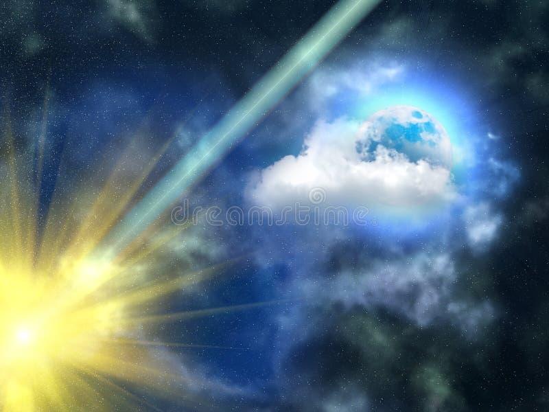 O céu nubla-se a lua ilustração royalty free