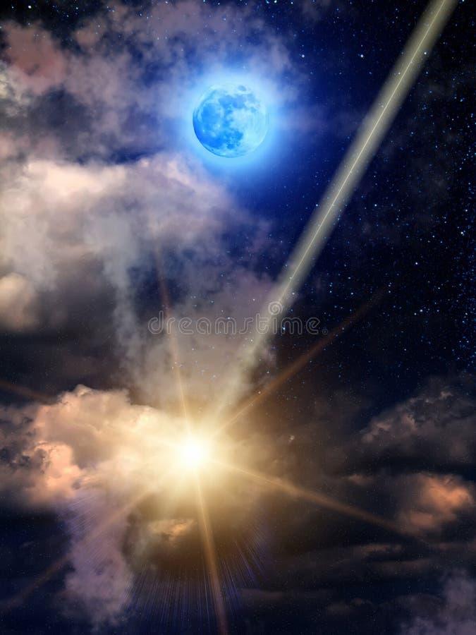O céu nubla-se a lua do meteoro ilustração royalty free