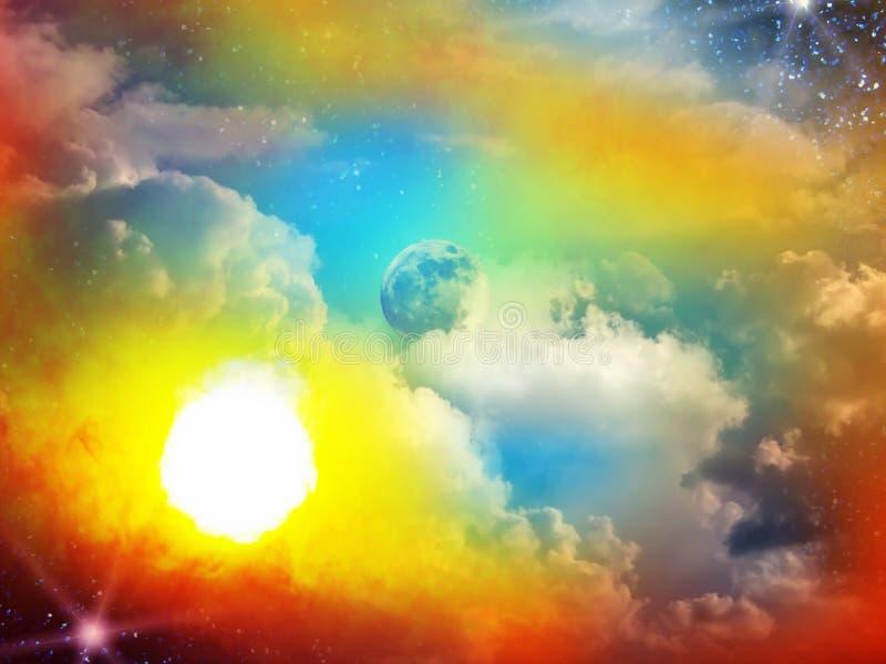 O céu nubla-se o relâmpago da lua imagens de stock