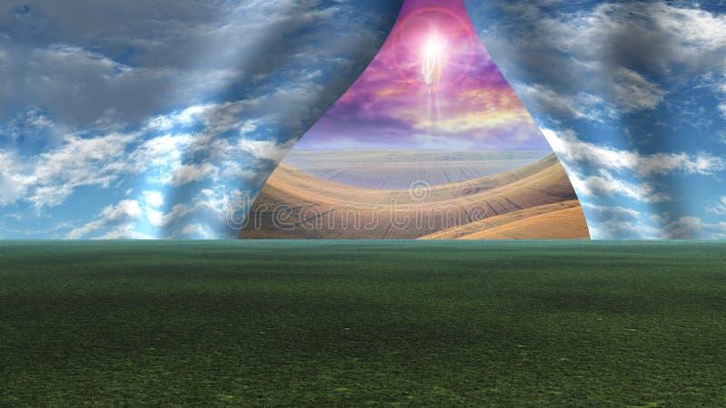 O céu puxou separado como a cortina para revelar Cristo ilustração royalty free