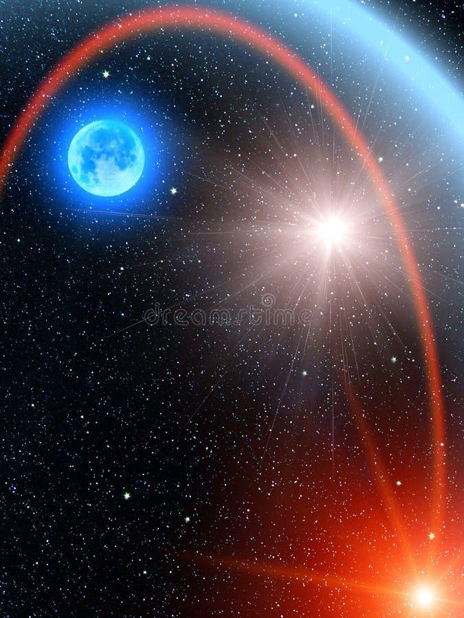 O céu stars o cometa do sol ilustração royalty free