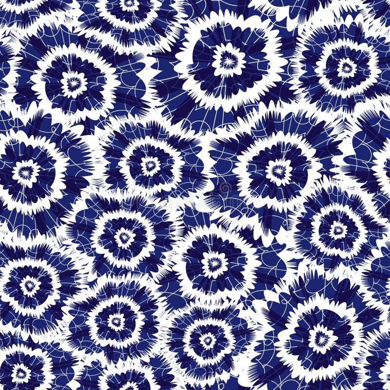 O círculo azul do shibori do índigo do vetor floresce o teste padrão abstrato Apropriado para a matéria têxtil, o papel de embrul ilustração do vetor