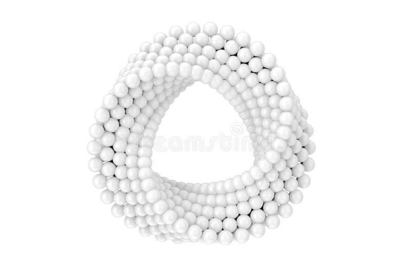 O círculo branco impossível do laço das bolas do sumário dá forma ao tampão transversal rendição 3d ilustração do vetor