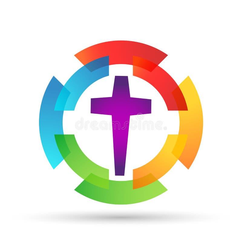 O círculo da união do amor da igreja da família deu forma ao logotipo ilustração do vetor