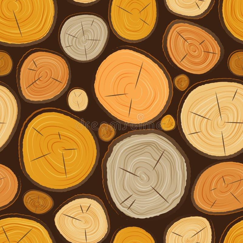 O círculo de madeira da textura da fatia da árvore do vetor cortou a matéria prima de madeira Opinião superior áspera textured de ilustração do vetor