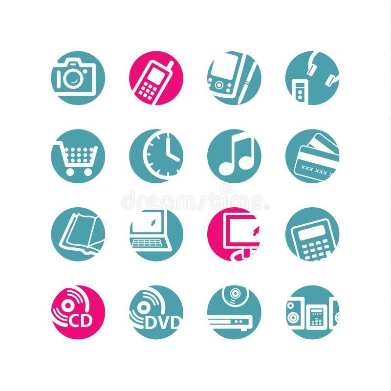 O círculo e-compra ícones ilustração stock