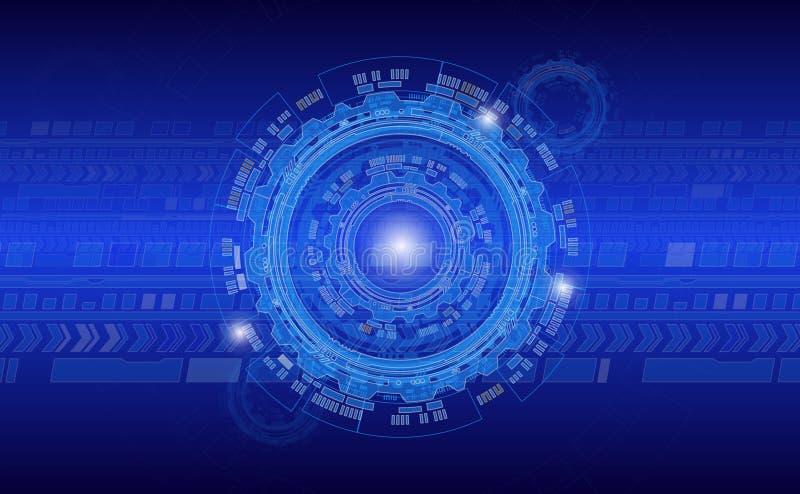 O círculo industrial abstrato do fundo no azul colore folhetos incorporados do estilo e outros Web ou materiais impressos para o  ilustração royalty free