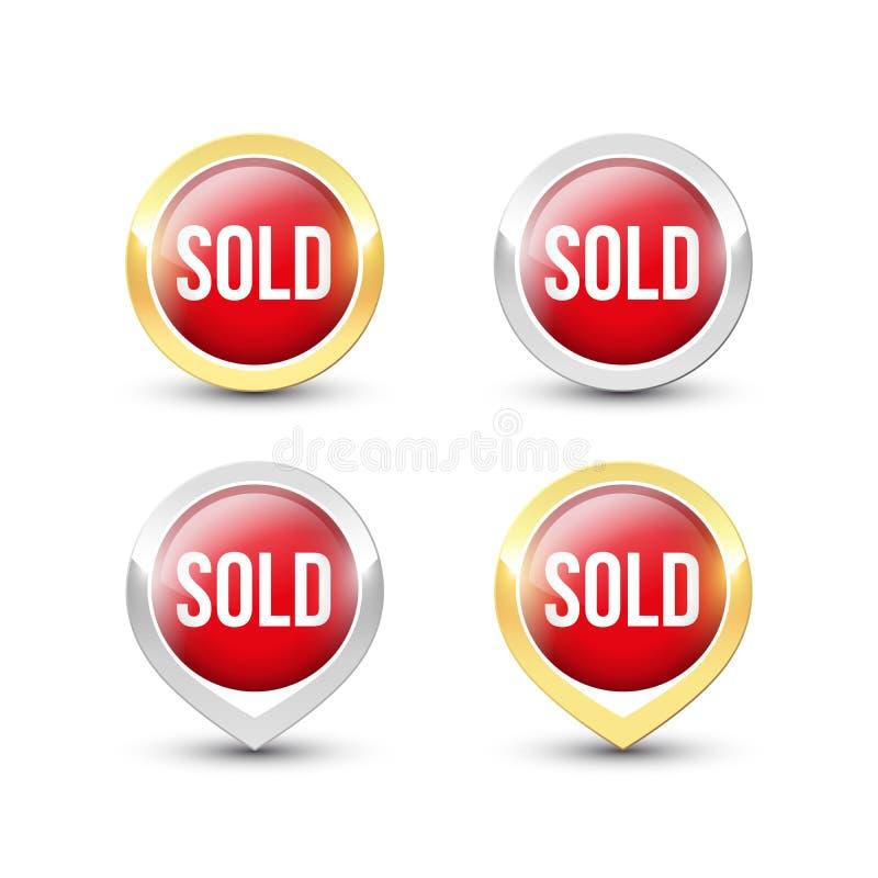 O círculo vermelho VENDEU ícones ilustração royalty free