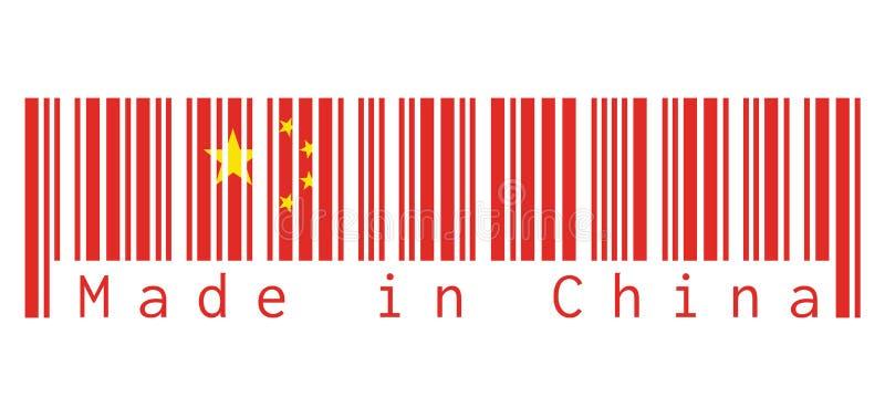 O código de barras ajusta a cor da bandeira de China, amarelo vermelho e protagoniza no fundo branco com texto: Feito em China ilustração stock