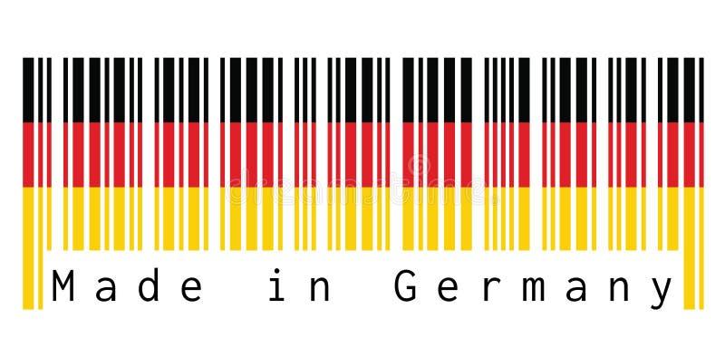 O código de barras ajustou a cor da bandeira de Alemanha, a cor vermelha e amarela preta no fundo branco com texto: Feito em Alem ilustração stock